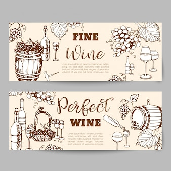 Produits de vinification. bannières pour le magasin de vin