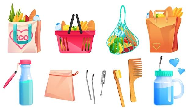 Produits zéro déchet sacs à provisions en coton et papier peigne en bois et brosse à dents bouteille et tasse en verre avec paille en métal, ensemble de dessins animés d'emballages écologiques recyclés avec de la nourriture et des produits réutilisables