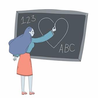 Prof, écriture, coeur, sur, tableau