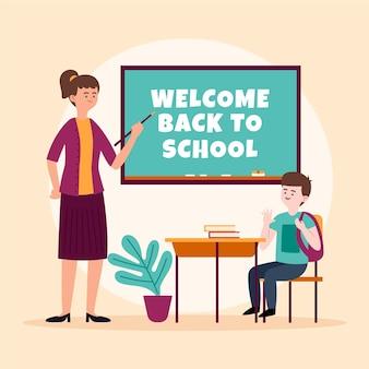 Le professeur accueille de nouveau à l'école