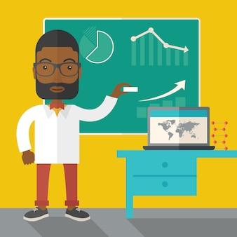 Professeur africain tenant une craie.