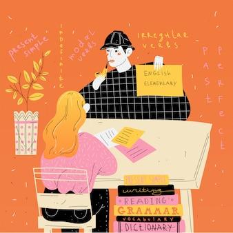 Le professeur d'anglais enseigne à un étudiant individuellement. leçon de langue étrangère.