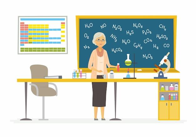 Professeur de chimie illustration de personnages de dessin animé moderne
