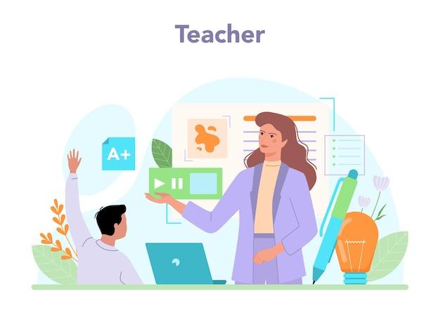 Professeur de concept d'enseignant donnant une leçon en ligne ou dans une salle de classe