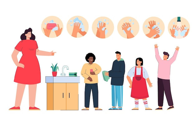 Professeur de dessin animé enseignant aux enfants les étapes de lavage des mains