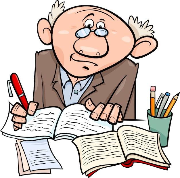 Professeur ou écrivain illustration de dessin animé