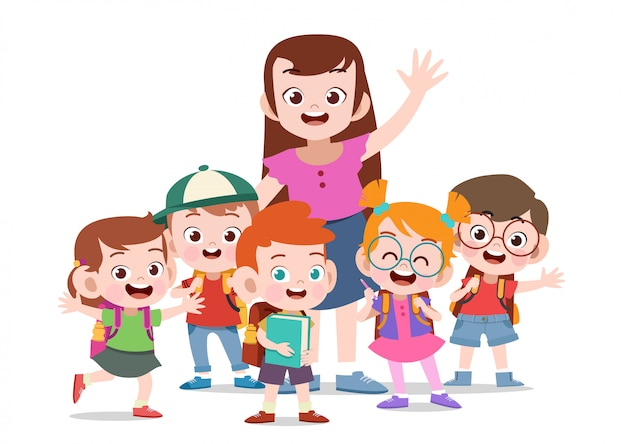 Professeur avec enfants