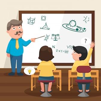 Le professeur enseignant ses élèves dans l'illustration de la classe