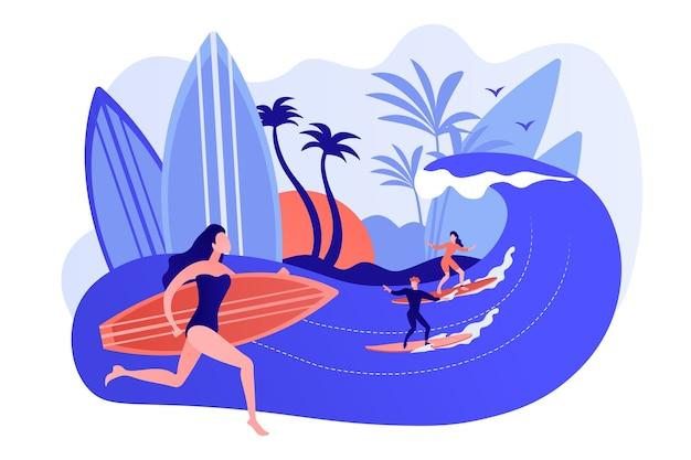 Professeur enseignant le surf, surfant sur une vague sur la planche de surf dans l'océan, des gens minuscules. école de surf, zone de spot de surf, apprenez à surfer ici concept. illustration isolée de bleu corail rose