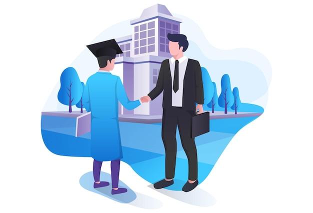 Le professeur et les étudiants se serrent la main pour l'obtention du diplôme