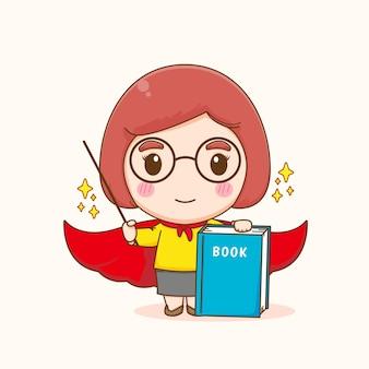 Professeur de femme mignonne comme dessin animé de super-héros
