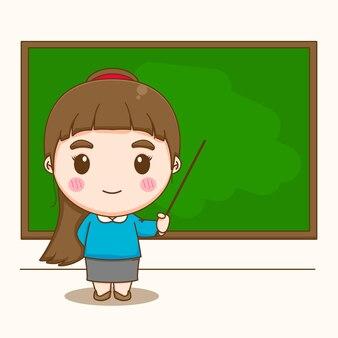Professeur de femme mignonne pointant vers la bande dessinée de tableau