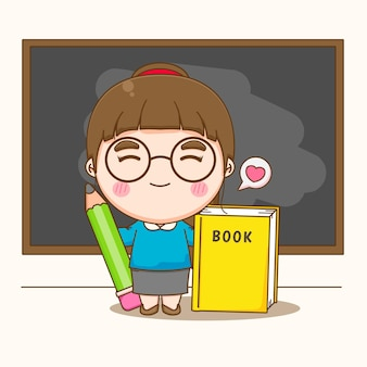 Professeur de femme mignonne tenant un livre et un crayon debout devant un dessin animé au tableau