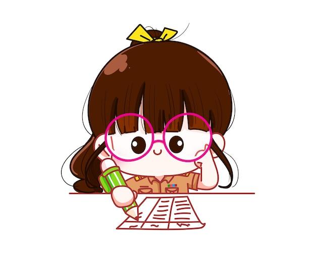 Professeur de femme mignonne en uniforme de gouvernement écrivant l'illustration d'art de dessin animé de caractère