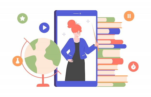Professeur de jolie fille sur l'écran du smartphone. enseignement scolaire en ligne. homeschooling. des tas de livres et un globe. illustration plate.