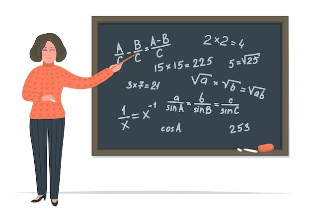 Professeur de maths féminin avec pointeur près du tableau noir.