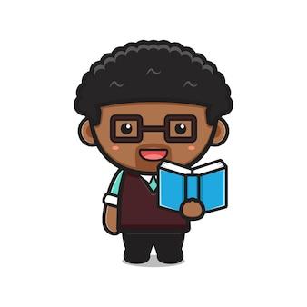 Professeur mignon lecture livre dessin animé vecteur icône illustration. conception isolée sur blanc. style de dessin animé plat.