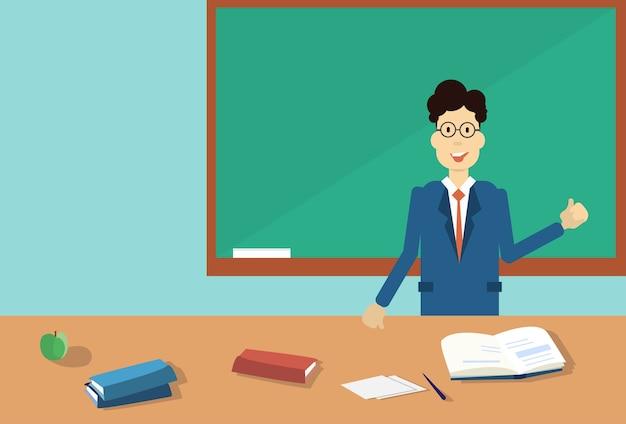 Professeur point hand to green school clack board
