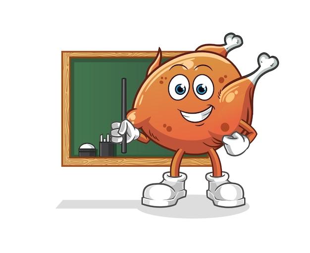 Le professeur de poulet frit. mascotte de dessin animé mascotte de dessin animé