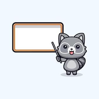Professeur de ratons laveurs mignons et illustration de caractère animal vecteur tableau blanc vierge