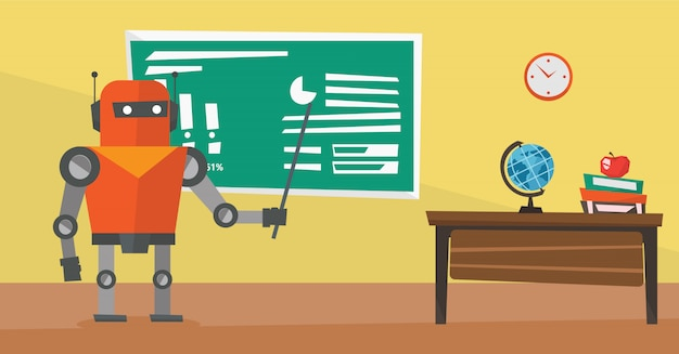 Professeur de robot debout avec pointeur en classe.