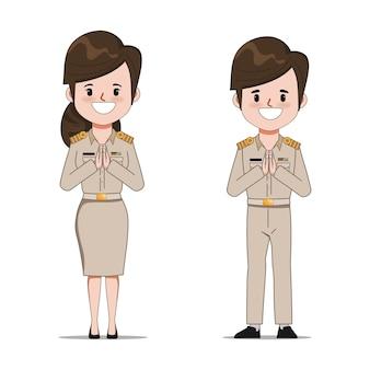 Professeur de thaï saluant avec namaste ou thai wai. les gens dans le caractère de l'emploi du gouvernement.