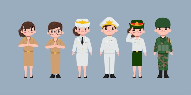 Professeur thaïlandais, force aérienne, soldat et caractère uniforme du gouvernement. les gens dans le caractère de l'emploi du gouvernement.