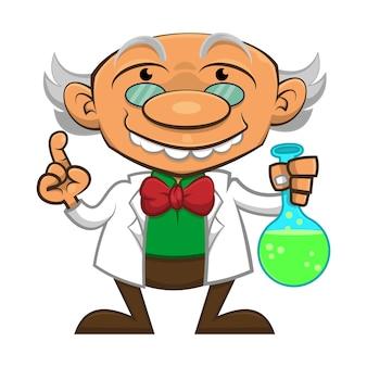 Le professeur transportant un nouveau liquide d'invention pour une meilleure vie humaine au laboratoire