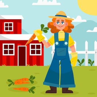 Profession agricole illustration dessinée à la main