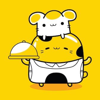 Profession de chef de personnage de mascotte de chat mignon dans un style cartoon plat