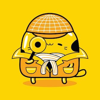 Profession de détective de personnage de mascotte de chat mignon dans un style cartoon plat