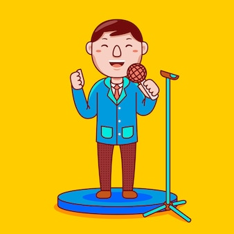 Profession de haut-parleur public homme en style cartoon plat