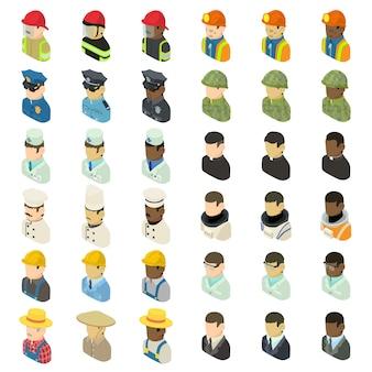 Profession icônes définies. illustration isométrique de 36 icônes vectorielles de profession pour le web
