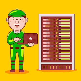 Profession d'ingénieur réseau homme en style cartoon plat