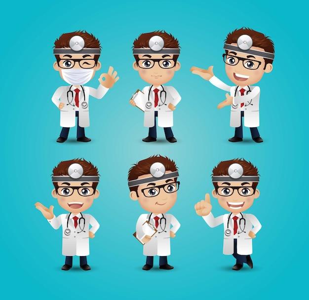 Profession - médecin avec différentes poses