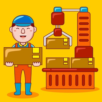 Profession d'ouvrier d'usine homme en style cartoon plat
