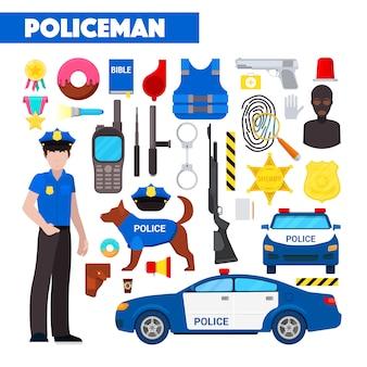 Profession policeman icons set avec voiture de police et menottes