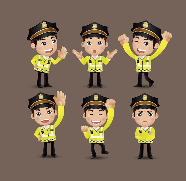 Profession - policier avec des poses différentes