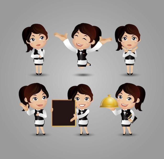 Profession - serveur avec différentes poses