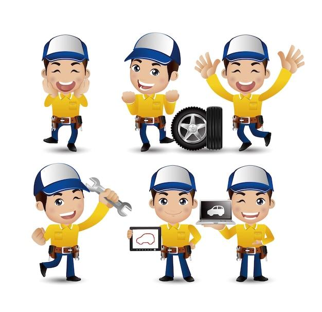 Profession - technicien avec différentes poses