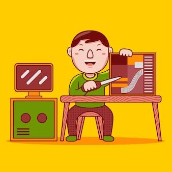 Profession de technicien informatique homme en style cartoon plat