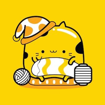 Profession de tricoteur de personnage de mascotte de chat mignon dans un style cartoon plat