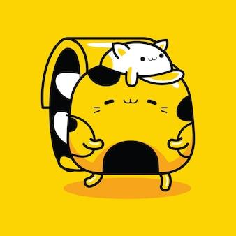 Profession de voyageur de personnage de mascotte de chat mignon dans un style cartoon plat