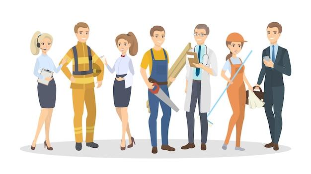 Professions hommes et femmes. les gens debout sur blanc.