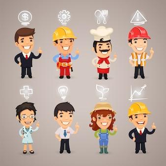 Professions personnages avec des icônes