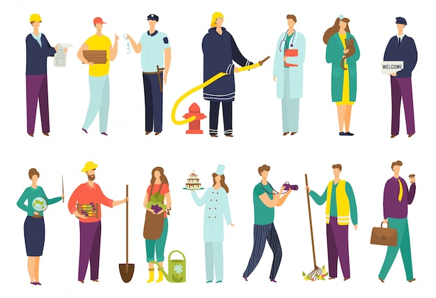Professions de personnes, ensemble d'icônes de travailleur, illustrations. employé de bureau, homme d'affaires, chef professionnel, médecin et pompier, pilote en uniforme, menuisier, policier et professeur.