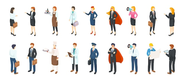 Professions de personnes isométriques. hommes et femmes dans différents costumes et uniformes professionnels, personnages de bureau plats. service de profession de personne d'emplois d'affaires 3d