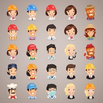 Professions vector characters icons set