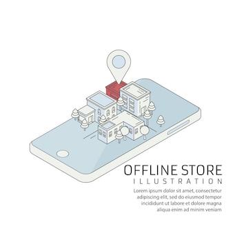 Proffline store isometric, store market landcscape with position sign, online to offline e-commerceint