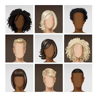 Profil d'avatar multinationale de visage masculin féminin
